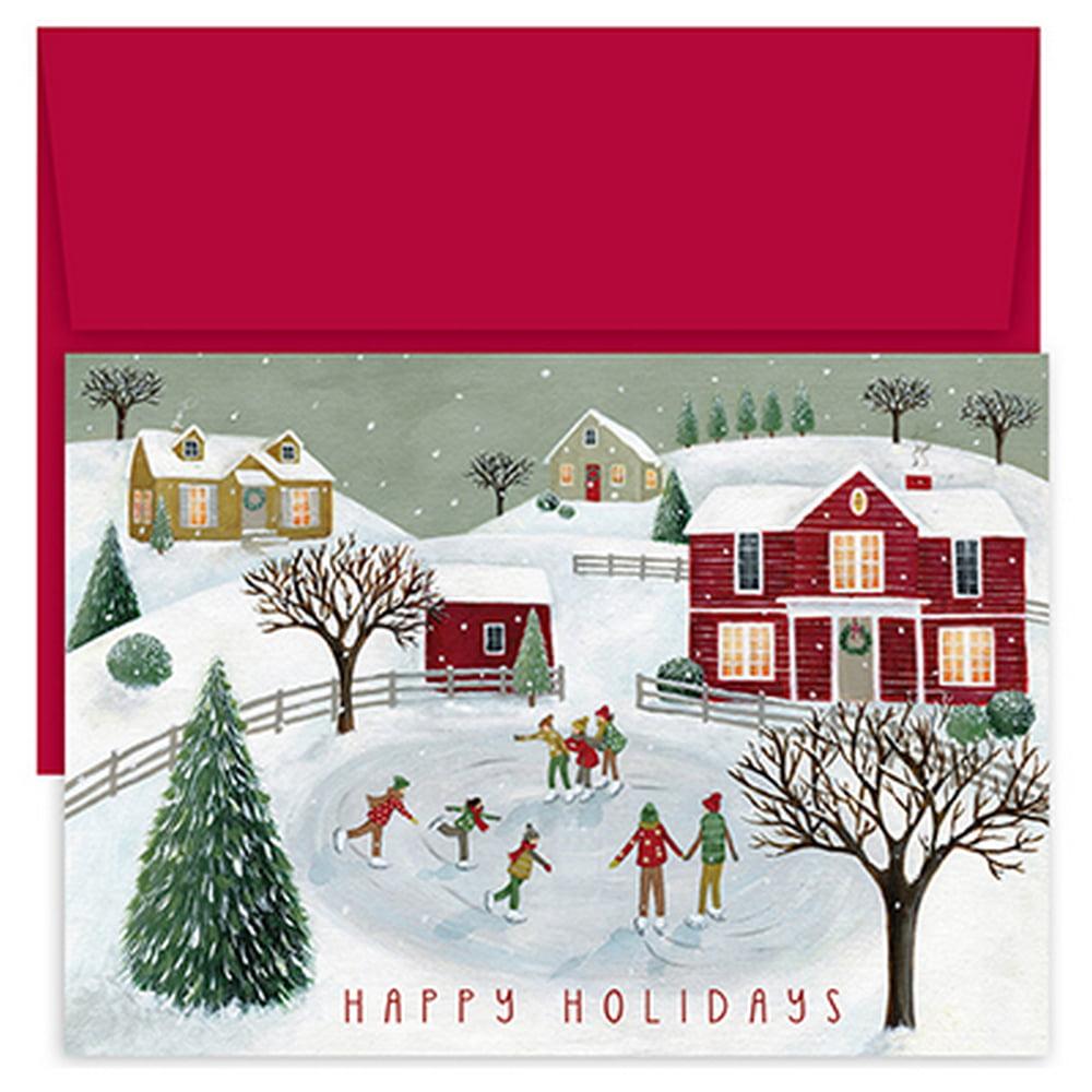 JAM Paper® Christmas Card Set, Skating Scene, 18/Pack