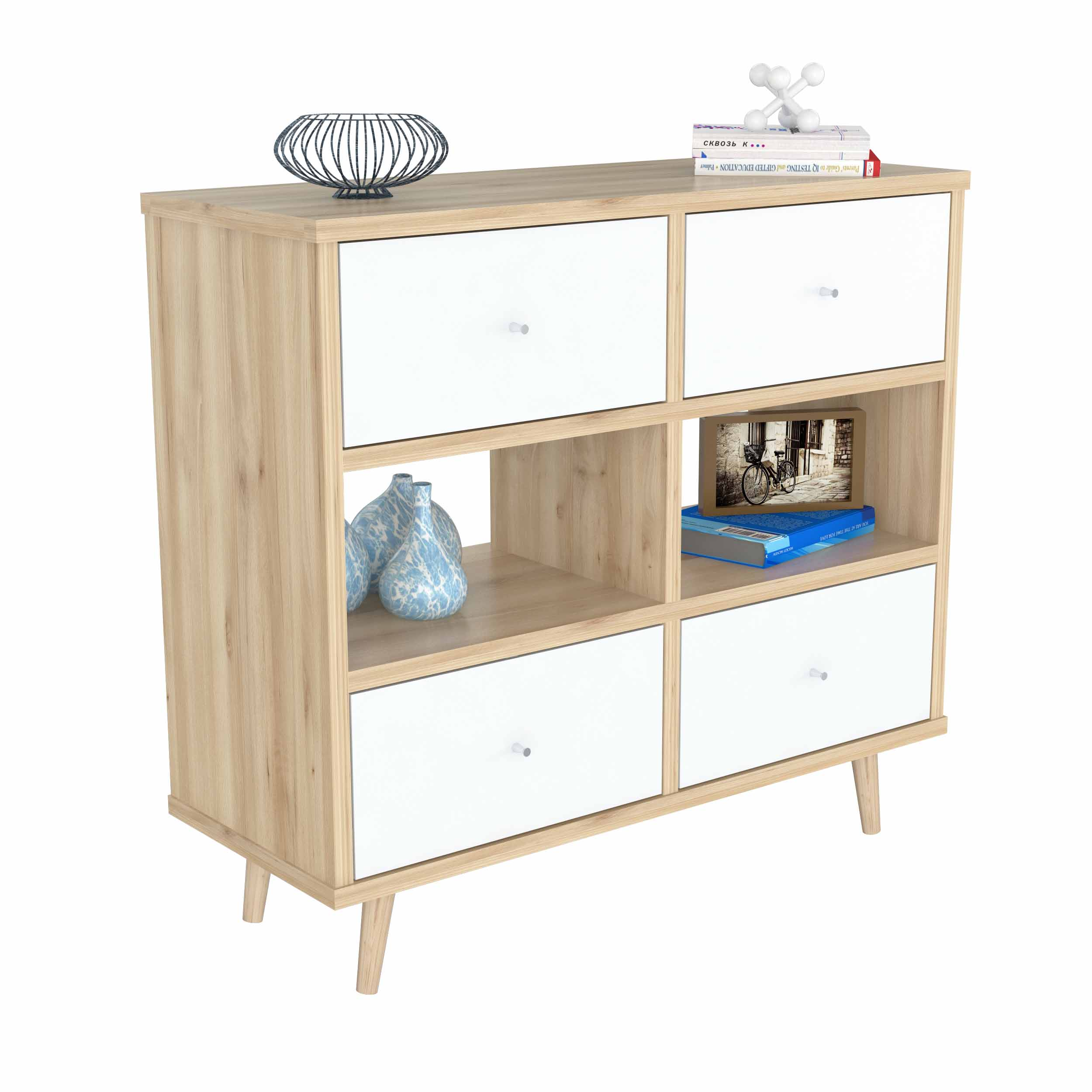 Inval Scandia Modern Maple/Polar White Dresser