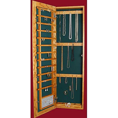 Recessed Wall-Mounted Wooden Jewelry Armoire - 14.25W x 48H - Jewelry Closet Recessed
