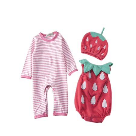 StylesILove Chic Halloween Baby Boy 3-PC Costume Set With Hat (6-12 Months, Strawberry) (Florida Baby Halloween Costumes)