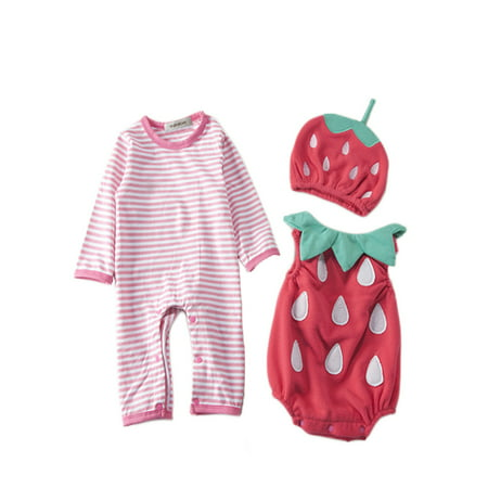 StylesILove Chic Halloween Baby Boy 3-PC Costume Set With Hat (6-12 Months, Strawberry)
