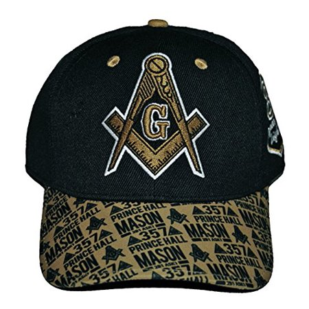bdd5f72ae Prince Hall Mason Baseball Cap Masonic Lodge Hat Embroidered Black Gold -  Walmart.com