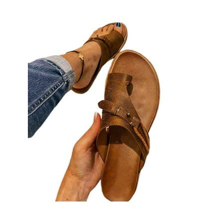 Women Ladies Orthotic Sandals Bunion Correction Flat Summer Beach Comfy Flip Flops Shoes Size