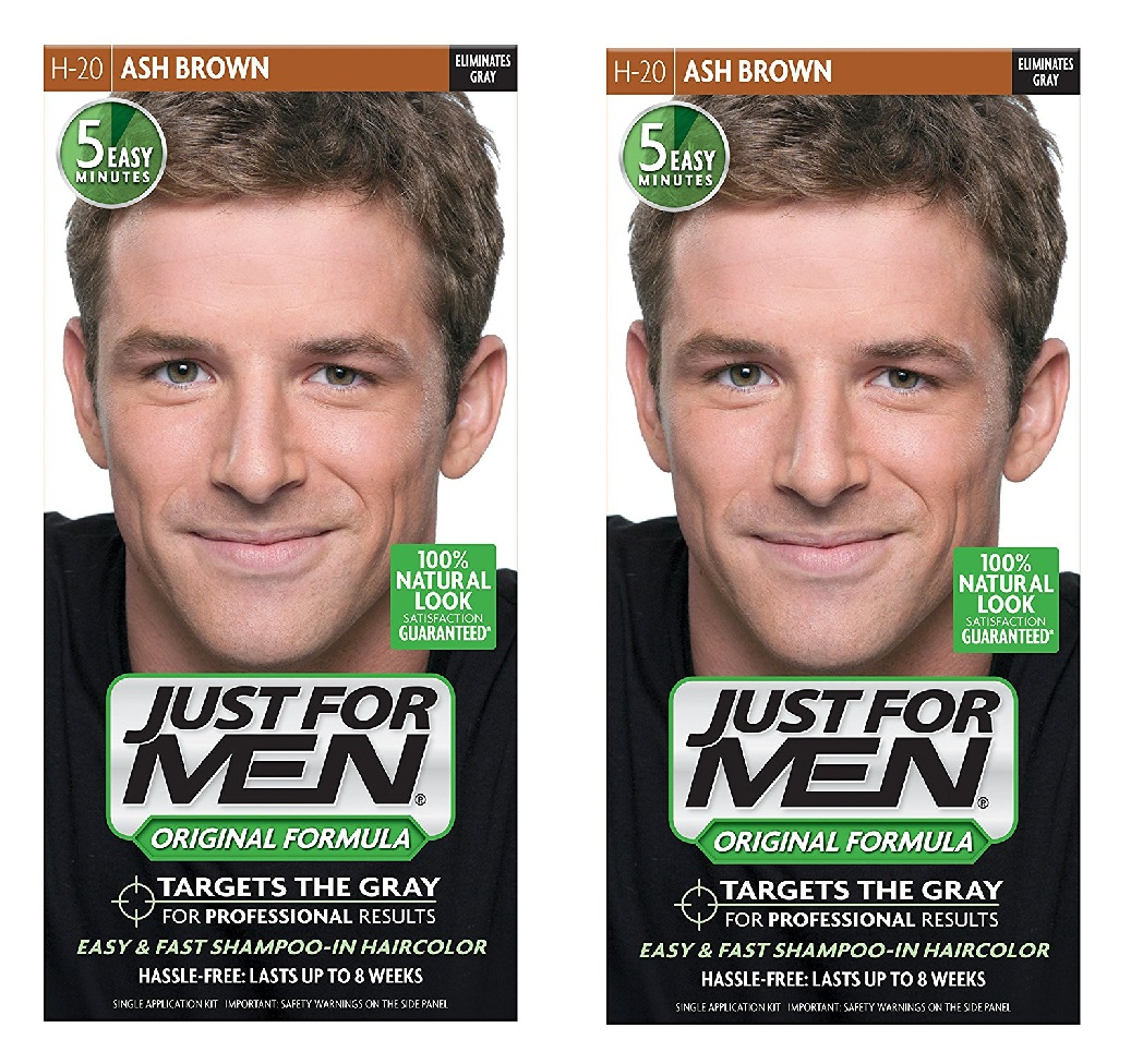 Just for Men Shampoo-in Hair Color, Ash Brown H-20, 1 Application (Pack of 2) + 3 Count Eyebrow Trimmer