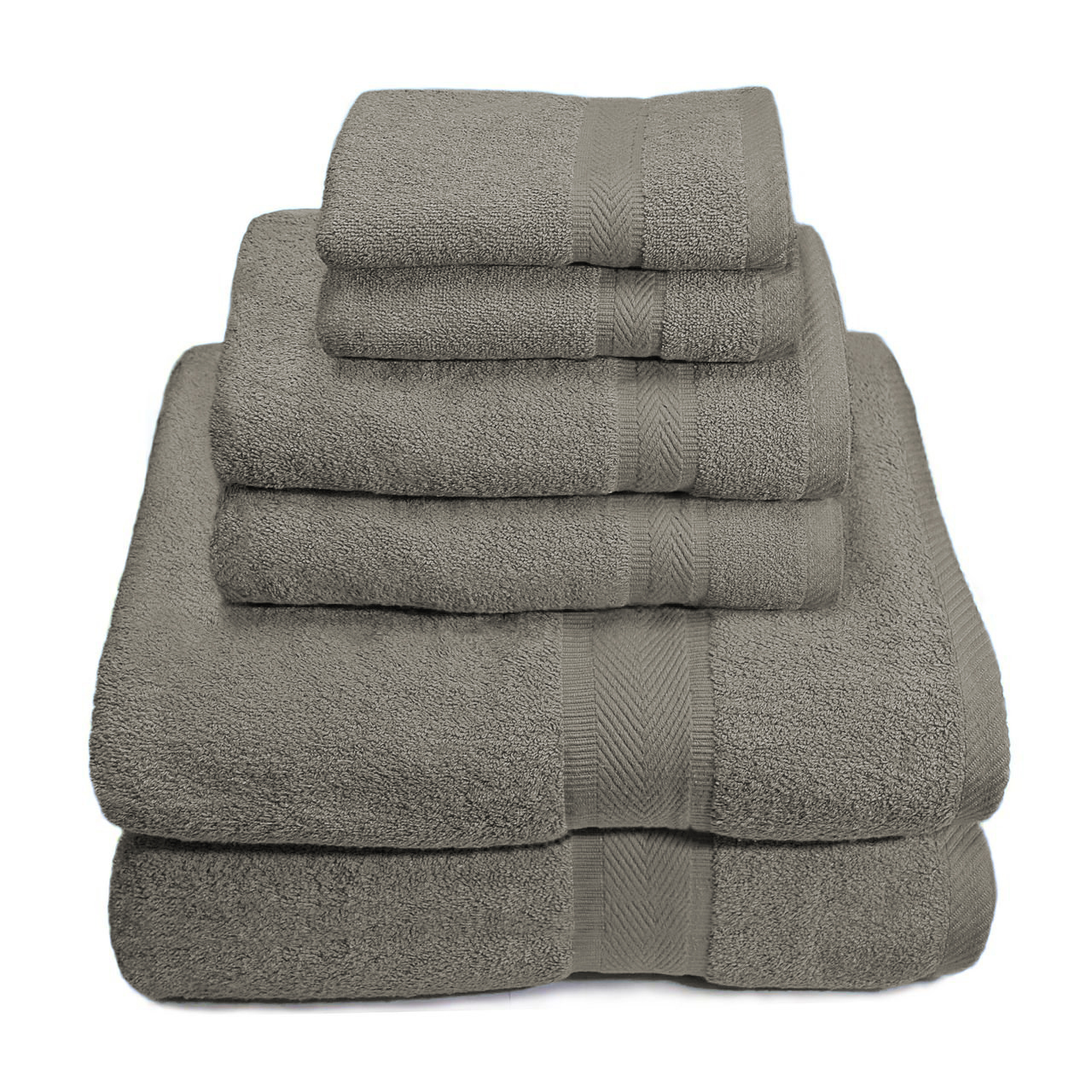 6 Piece Premium Egyptian Cotton Towel Set, Bath Towels, Hand Towels, Wash Cloths - Gray