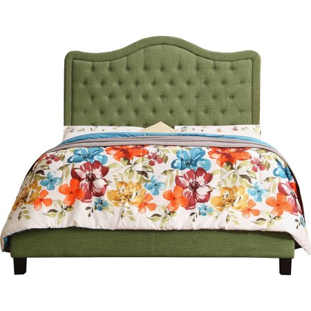Alton Twin Upholstered Panel Bed Green