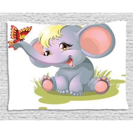 Elephant Nursery Decor Tapestry, Newborn Animal Mascot Puppet Yellow Hair Fun Happiness Butterfly, Wall Hanging for Bedroom Living Room Dorm Decor, 80W X 60L Inches, Multicolor, by Ambesonne