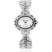 Women's Stainless Steel Feather Design Cuff Fashion Watch, Silver