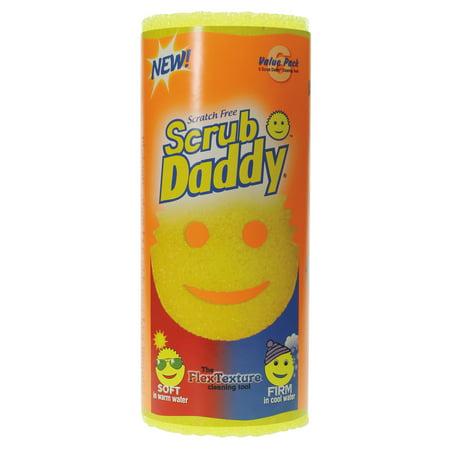 Scrub Daddy Scratch Free Scrubbing Sponge  4 1 8  Diameter  Yellow  Polymer Foam  6 Pack