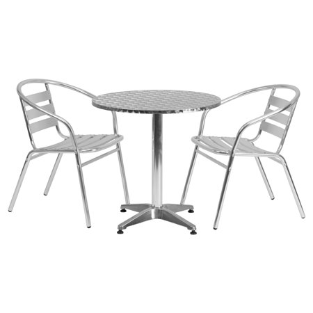 Aluminum Slat Table - Flash Furniture 27.5'' Round Aluminum Indoor-Outdoor Table with 2 Slat Back Chairs