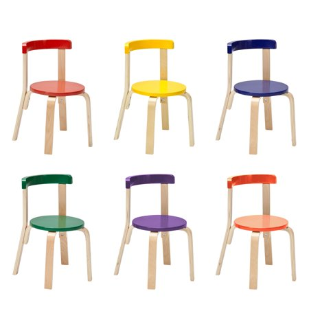 ECR4Kids Curved Back Chair, Sturdy Wood Stools for Kids and Toddlers, 6-pack