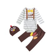 Yinyinxull Newborn Baby Boys My 1st Thanksgiving Clothes Sets Long Sleeve Romper Bodysuit Pant with Headband Brown 0-3 Months