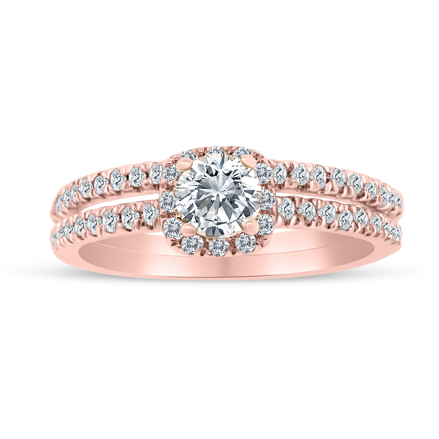5/8ctw Diamond Halo Bridal Set Engagement Ring in 10k  Ro...