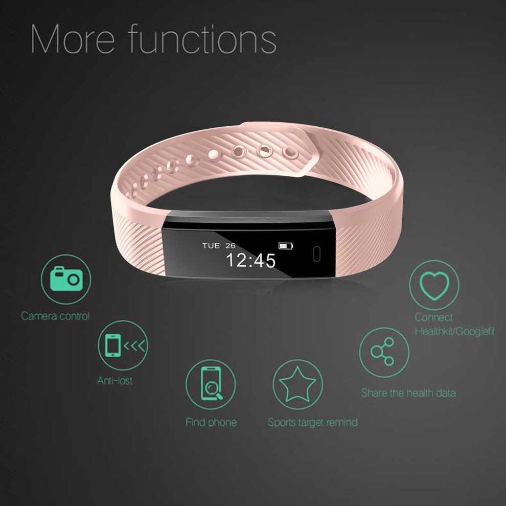 LEMFO ID115 Pedometer Sleep Monitoring Sport Bluetooth Alarm Clock Smart Bracelet Fitness Tracker for iOS for Android