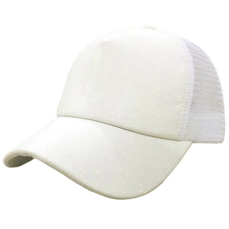 d868ab7db4f DZT1968Women Ponytail Baseball Cap Sequins Shiny Messy Bun Snapback Hat Sun  Caps