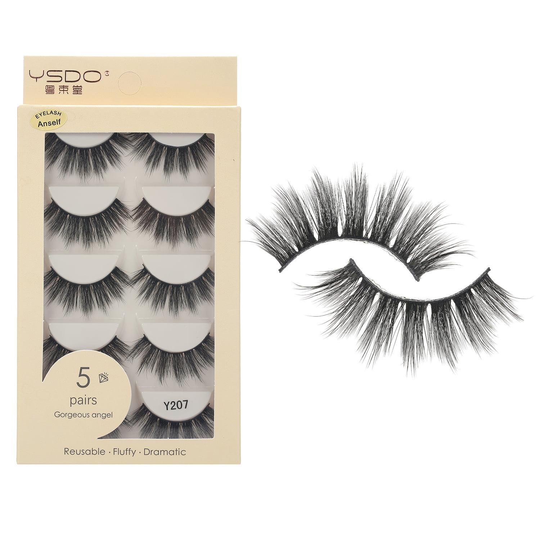 Anself 5 Pairs 3D Fake Eyelashes False Eyelashes Handamde ...