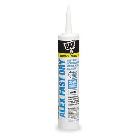 DAP Alex Fast Dry Acrylic Latex Caulk Plus Silicone 10.1 oz. White