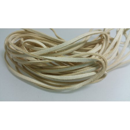 5 YARDS - 15 FEET Ivory Faux Suede Cord Leather Lace Ribbon Soft 3mm x 1.5mm