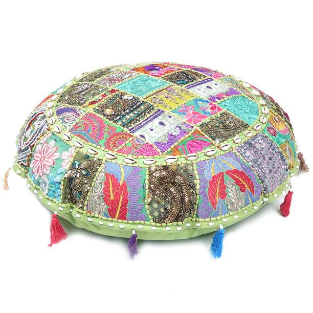 Pink Goood Times Indian Patchwork Bohemian Round Floor Pillow Boho Ottoman Pouf Seashell 22