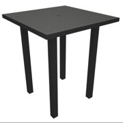 """36"""" Recycled Earth-Friendly Square Bar Table - Slate Gray with Black Frame"""