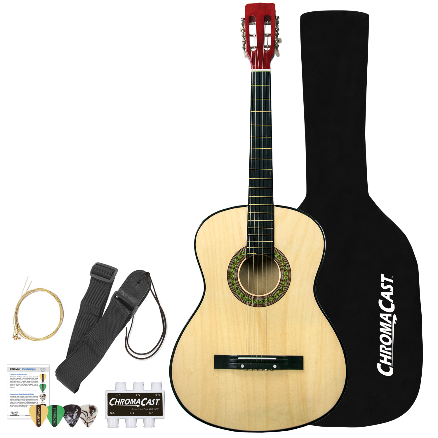 Rise by Sawtooth Full Size Steel String Beginner's Acoustic Guitar Pack , Natural by Sawtooth