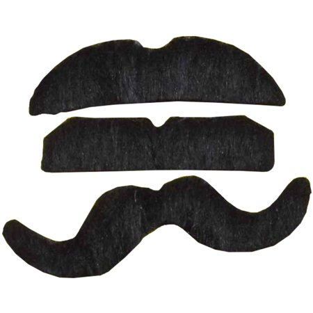 144 Assorted Black Fake Peel And Stick Mustaches Costume Accessory (Fake Black Eye Halloween)