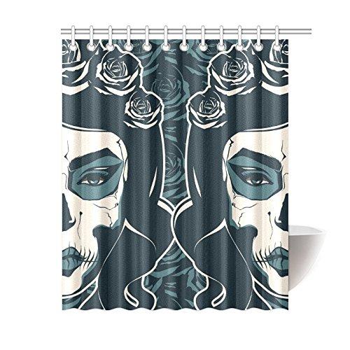 "Sugar Skull Shower Curtain 71X71/"" Waterproof Fabric 12 Hooks Mat for Bathroom"