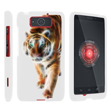 Motorola Droid Ultra XT1080 | Droid Maxx XT1080-M, [SNAP SHELL][White] 2 Piece Snap On Rubberized Hard White Plastic Cell Phone Case with Exclusive Art -  Blazing (Cell Phone Cases For Motorola Droid Maxx)