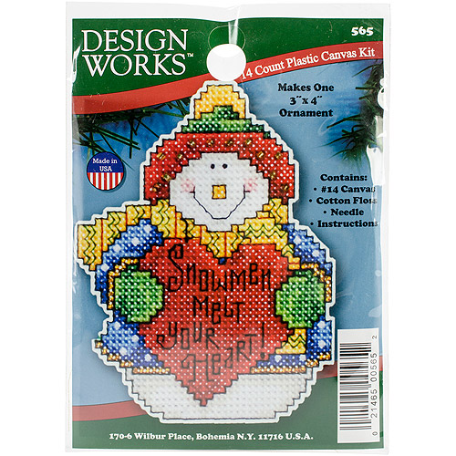 Snowman Ornament Plastic Canvas Kit, 14-Count