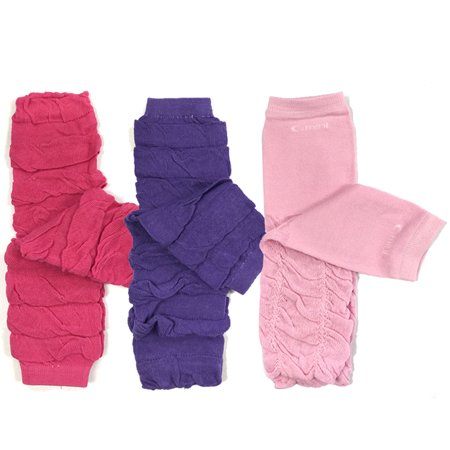 Wrapables® Baby 3-Pair Leg Warmers O/S Ruched Pink and Purple