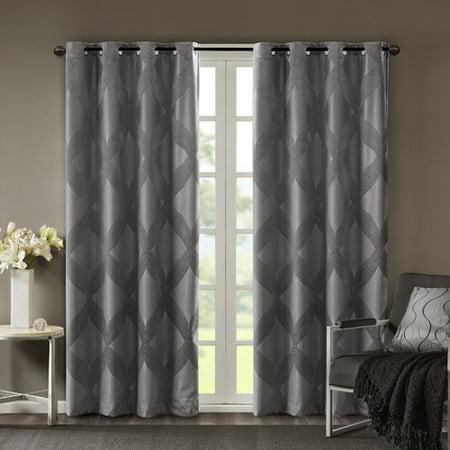 Rosdorf Park Thompson Ogee Knitted Jacquard Geometric Blackout Thermal Grommet Single Curtain Panel