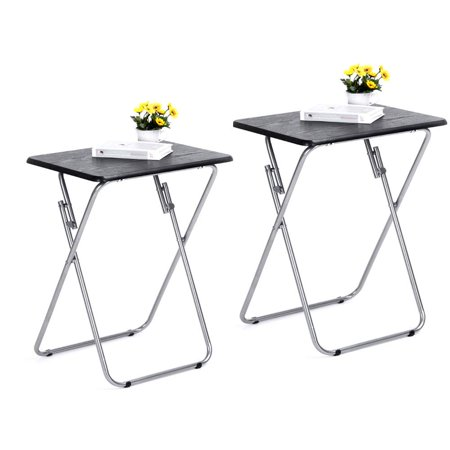 HOMY CASA Folding TV Trays 2 Pcs Small Snack Metal Dinner Tray Side Table Black