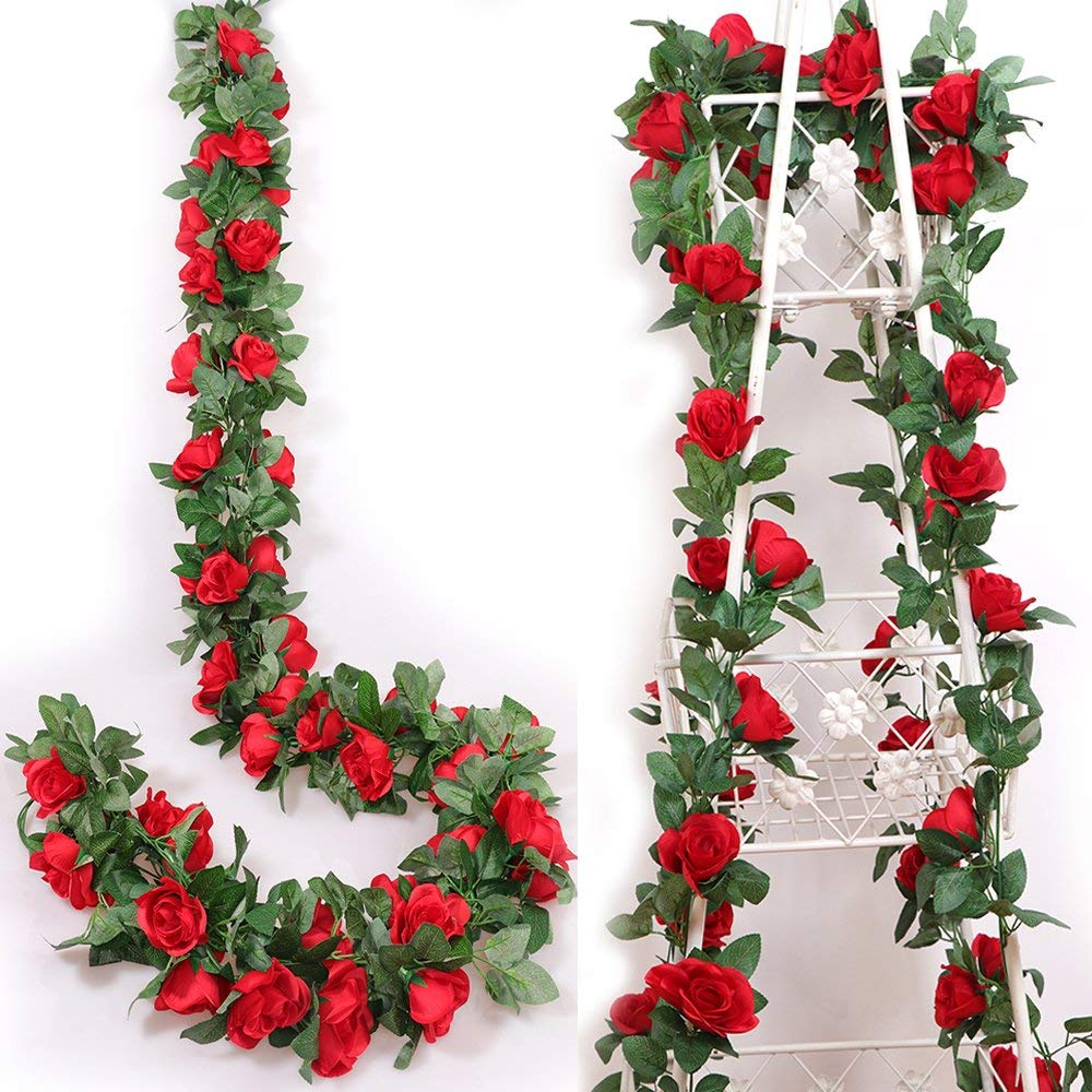 Coolmade 2pack 8ft artificial fake rose vine garland artificial coolmade 2pack 8ft artificial fake rose vine garland artificial flowers plants with 16 rose flowers for hotel wedding home party garden craft art decor izmirmasajfo