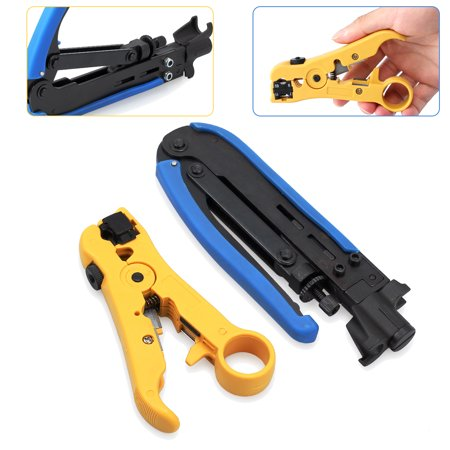 ESYNIC RG6 RG59 RG11 Multifunctional Coax Coaxial Cable Crimper +Stripper Compression Hand Tool stripping pliers set