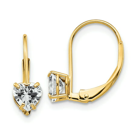 - 14K Yellow Gold 5mm Heart Cubic Zirconia Leverback Dangle Earrings