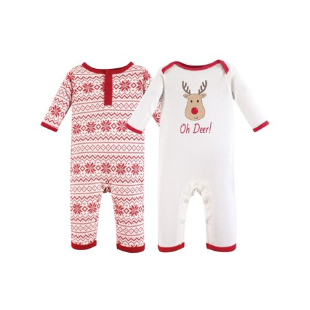 Holiday Union Suit Rompers, 2pk (Baby Boys or Baby Girls Unisex) (Hudson Romper)