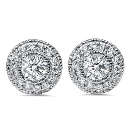 1 2ct Diamond Studs Removable Earring Jackets 14k White Gold