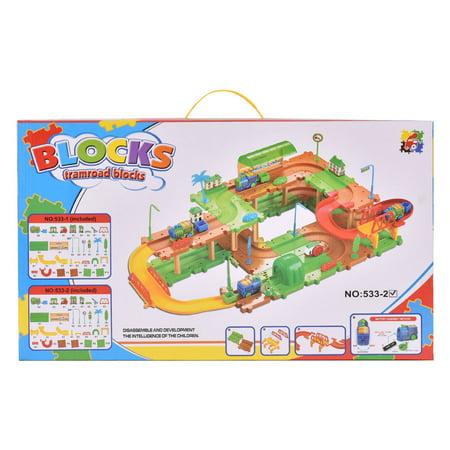 Goplus 69PCS B/O Kids Child Plastic Brick Toys Electronic Building Blocks Railway Train