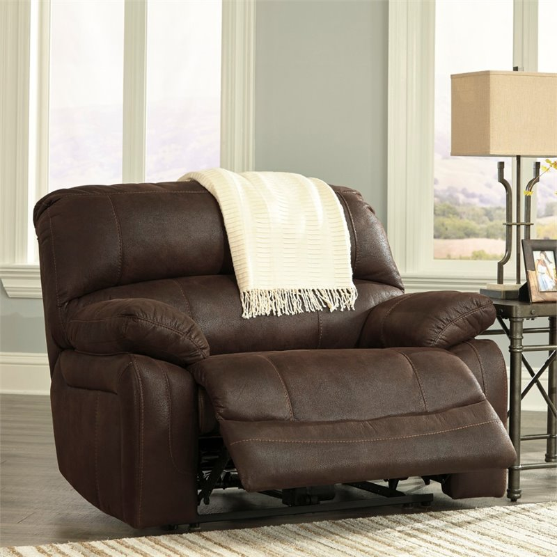 Ashley Zavier Wide Seat Faux Leather Recliner in Truffle & Oversized Recliners islam-shia.org