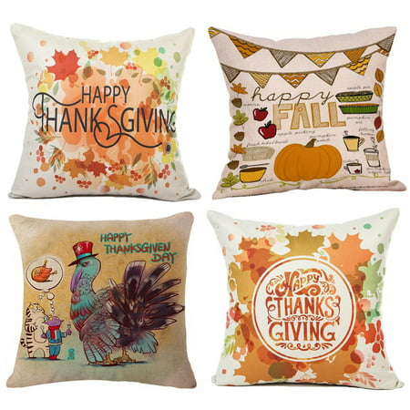 - Coolmade Happy Thanksgiving Day Fall Decor Pumpkin Decorative Pillow Covers Cotton Linen Home Decor Design Thanksgiving Happy Turkey Day Farmer Harvest Pumpkins Autumn Leaves 18x18 Inch Set of 4