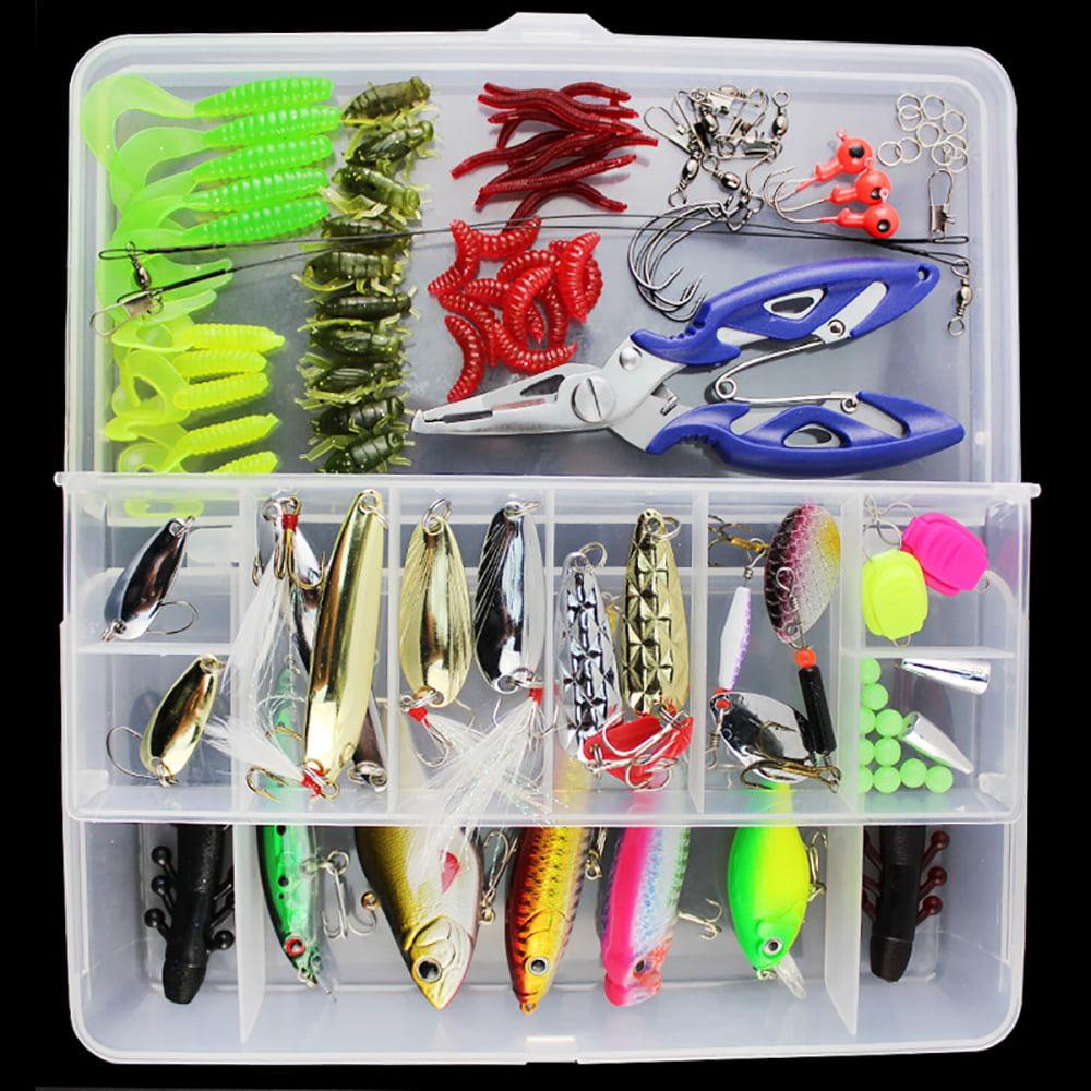 101 PCS Set Fishing Lures Tackle Mixed Hard Baits Soft Baits Popper Crankbait VIB Fishing Lures Hooks Set with Box MZ by