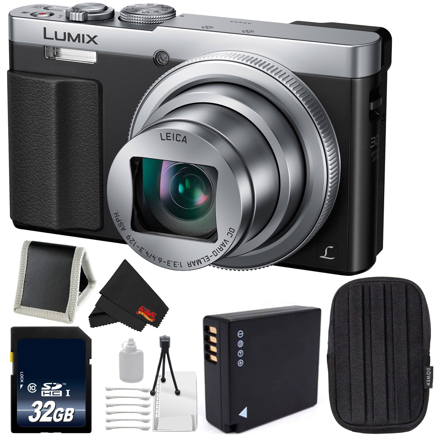 Panasonic Lumix DMC-ZS50 (Silver) Bundle with Carrying Case + 32GB Memory Card (Intl Model)