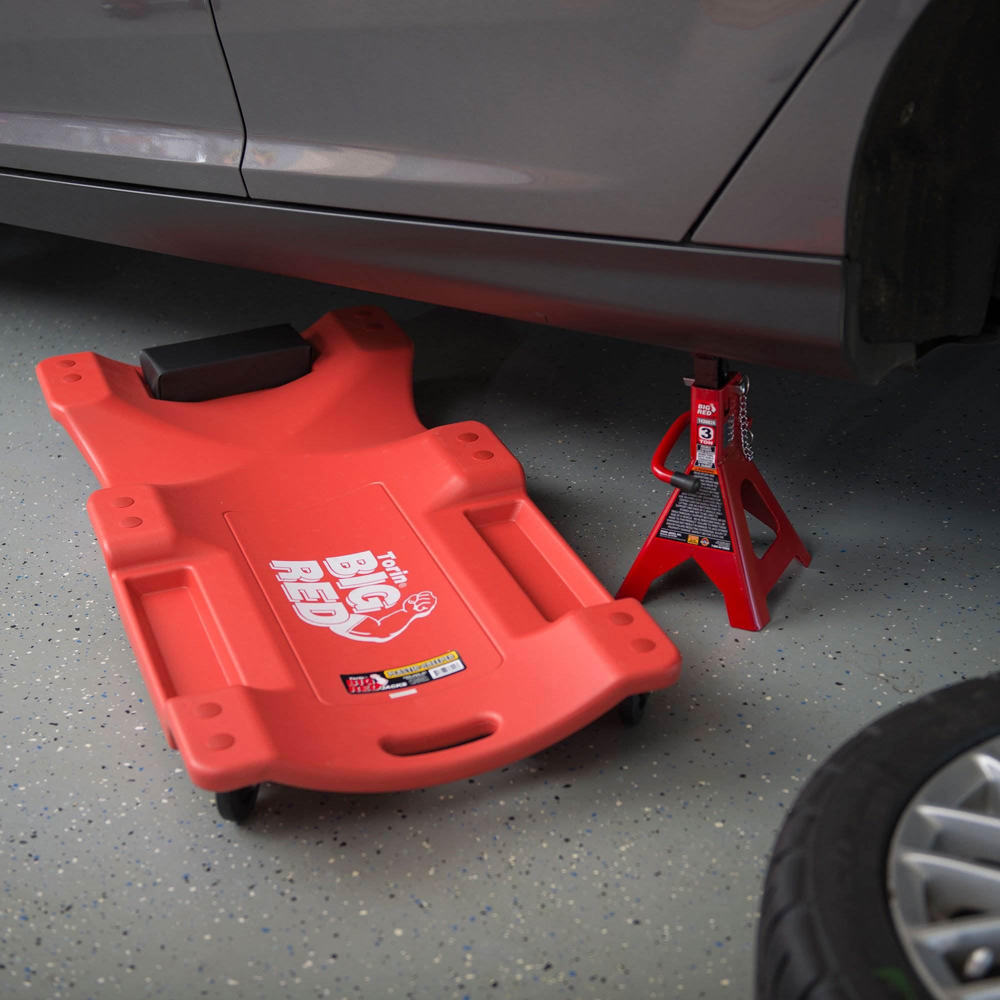 Torin Big Red Rolling Garage//Shop Creeper Black 36 Plastic Mechanic Cart with Padded Headrest