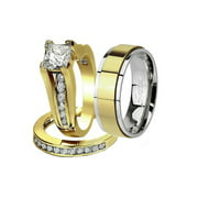 His and Her 14K G.P. Stainless Steel 3pc Wedding Engagement Ring and Men's Band Set Women's Size 10 Men's Size 10