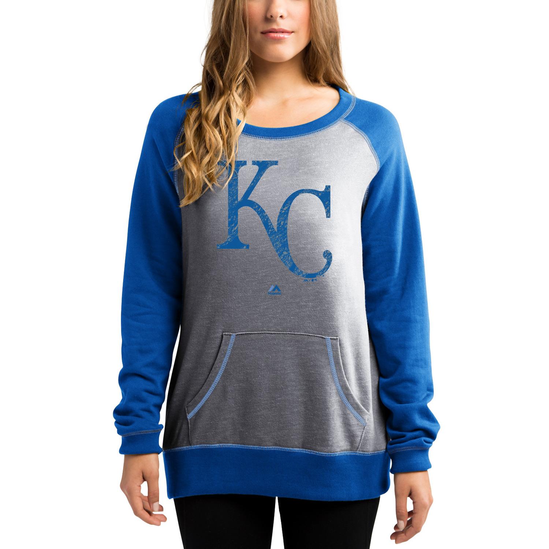 Kansas City Royals Majestic Women's Everything & More Pullover Sweatshirt - Gray/Royal