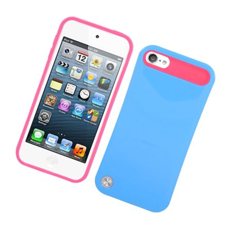 Insten Night Glow Jelly Hard Plastic/Soft Silicone Case Cover For Apple iPod Touch 6th / 5th Gen, Blue/Hot