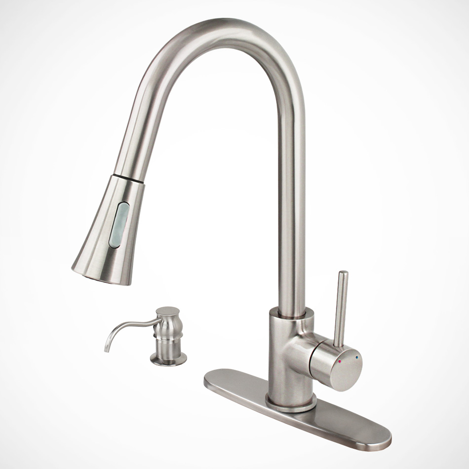 Euro Contemporary Brushed Nickel Kitchen Sink Faucet Pull...