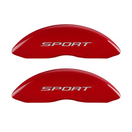 MGP 4 Caliper Covers Engraved Front & Rear No Bolts/Sport 2015 Red finish silver ch