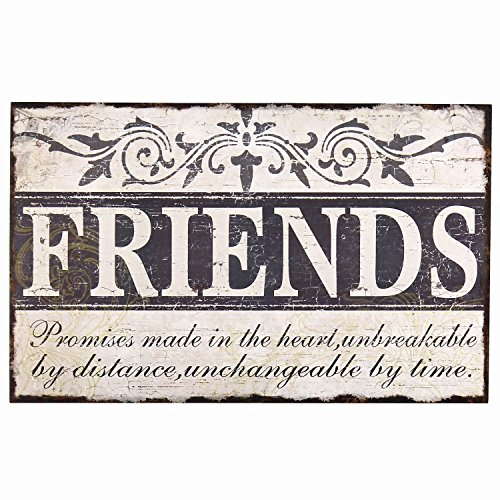 "Adeco [SP0106] Decorative Wood Wall Hanging Sign Plaque ""Friends"" Off White Black Home Decor"