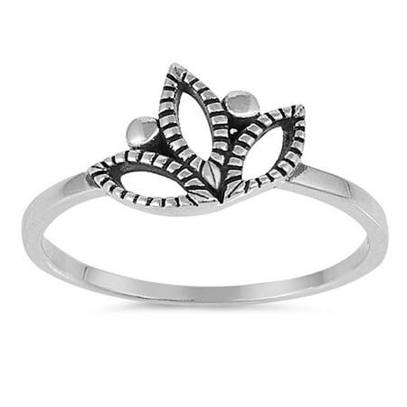Sac Silver Oxidized Filigree Lotus Flower Ring Sizes 4 5 6 7 8 9